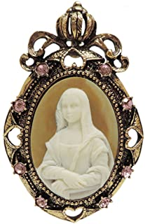 GIRLPROPS 2 X 3 Whistler's Mother Cameo Brooch, Pendant, Rhinestone Trim, in Antique Brass with Pink Finish