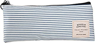Bullidea Horizontal Stripe Style Rectangle Canvas Pen Bag Pencil Case Cosmetic Storage for Pencils and Zipper – Blue