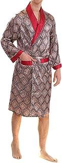 YIMANIE Mens Satin Robe Lightweight Silk Spa Bathrobe with Shorts Nightgown Long Sleeve House Kimono Printed Bathrobe Set