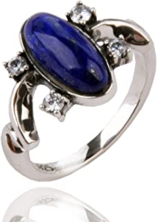 XCFS 925 Silver Plated CZ Blue Stone Vampire Diaries Elena's Daylight Womens Band Ring,Size 6-8