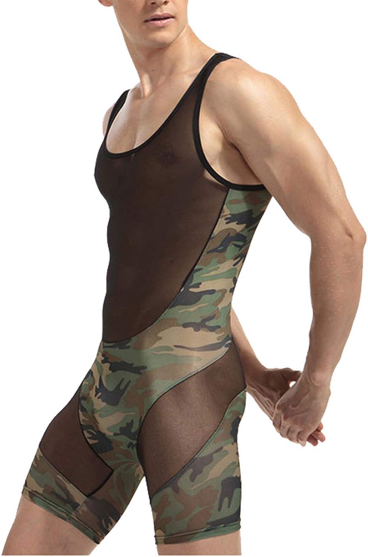 zdhoor In Super Special SALE held stock Men's Mesh See Through Wrestling Sing Camouflage Bodysuit