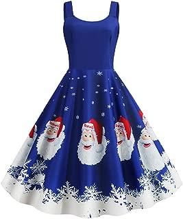 Dunacifa Women's Vintage Christmas Halloween Dress Sexy V-Neck Spaghetti Strap Evening Party Prom Dress