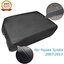 Saihisday Microfiber Leather Black Console Lid Armrest Cover for Toyota Tundra 2007-2011, 2012-2013 Bucket Seat