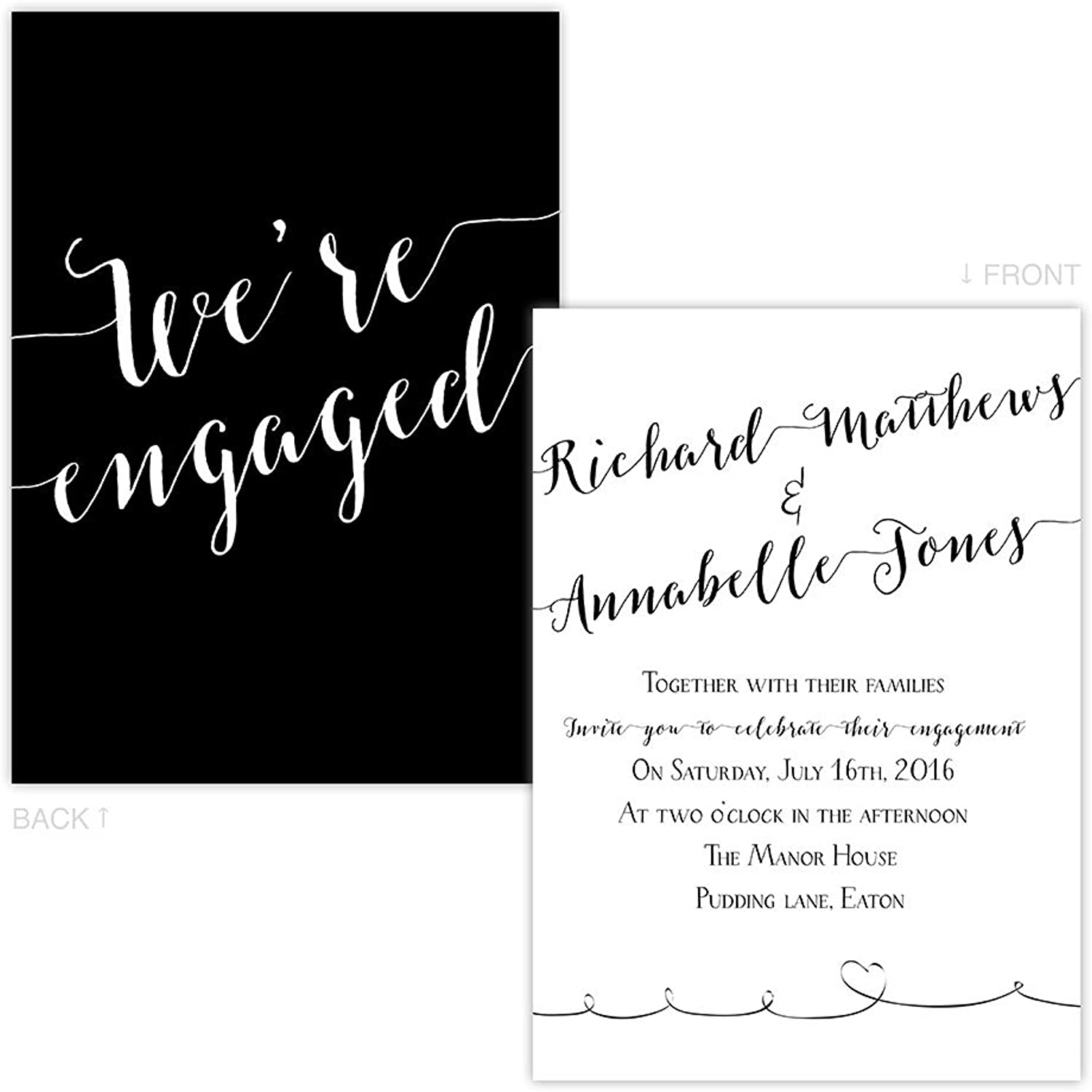 Made by Mika Personalised engagement party invitations ELEGANT SWIRLS FREE DRAFT & FREE ENVELOPES (200, A5 single-sided Pearl or Textured card)