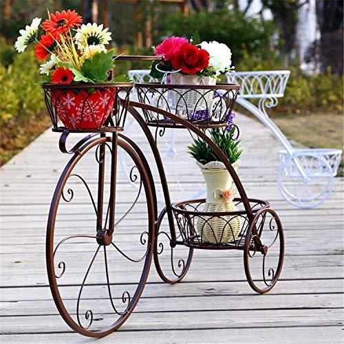 Soporte Creativo Para Plantas De Bicicletas, Estante De Hierro Para Flores Metal Soportes Para Macetas Estante Exhibición Organizador Macetas, Jardín Decoración De Interiores Y Exteriores,Latón