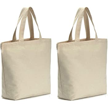 Axe Sickle 2PCS Canvas Tote Bag Bottom Gusset 16 X 16 X 5 inch Heavy 12oz Tote Shopping Bag, Washable Grocery Tote Bag, Craft Canvas Bag, White.