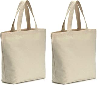 AxeSickle 2PCS Canvas Tote Bag Bottom Gusset 16 X 16 X 4.6 inch Heavy 12oz Tote shopping bag, Washable grocery tote bag, Craft Canvas Bag With Handles, White.
