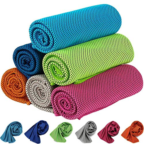 Cooling Towel 6 Packs ,KEAFOLS 40x12'' Chill Ice Sports Towel Neck Headband Bandana Scarf for Instant Relief Stay Cool with Cold Microfiber Cloth for Yoga ,Golf ,Gym Fitness&Summer Outdoor Work