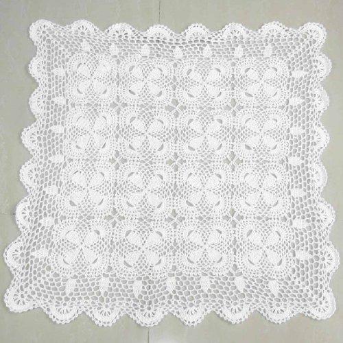 kilofly - Centrino in cotone, realizzata a mano all'uncinetto, forma quadrata, Cotone, White, 69 cm ca.