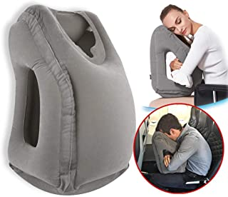 Povinmos Travel Pillow Sleep Aid, Premium Comfortable Inflatable Portable Head Neck Rest Pillow, Design for Airplanes, Cars, Buses, Trains, Office Napping, Outdoor Camping - Grey