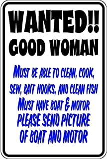 taidalinjiudian Super Durable Wanted Good Woman Clean Cook Boat Motor 18 x 12 in Tin Sign