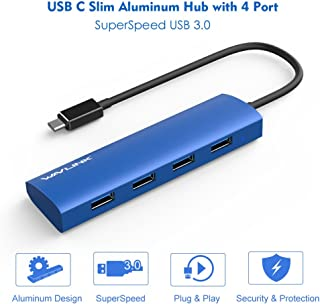 Wavlink USB C Hub USB Type C to 4-Ports USB 3.0 Hub Slim Aluminum Hub for USB-C for MacBook, Google Chromebook Pixel and M...