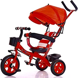 Baby Tricycle, Detachable Learning Bike w/ Canopy Bag, Kids Steer Stroller-101-blue