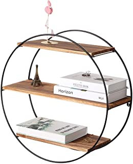Homode Floating Shelves, 3 Tier Geometric Round Wall Shelves Decorative Wood and Metal Hanging Shelf, Rustic Farmhouse Decor