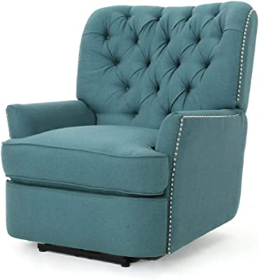 Christopher Knight Home Salomo Tufted Fabric Power Recliner, Dark Teal / Black