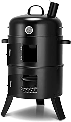Vertical Home Charcoal BBQ Griller Smoker Fire Pit With Built-In Thermometer Adjustable Air Vent Multifunctional 3-in-1 Design Ideal For Outdoor Events Like Party Bonfires Family Barbecues Or Camping