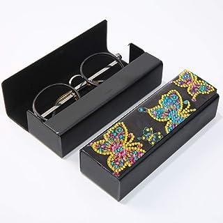 Étui à lunettes 5D pour peinture à strass - Avec strass partiels - Forme spéciale - Avec papillons - Boîte en cuir - Pour ...
