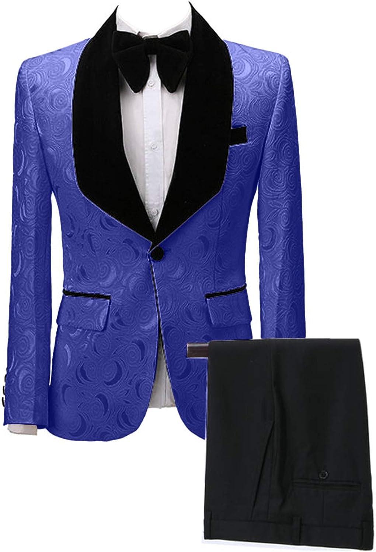 Wemaliyzd Men's Classic Fit 2 Suit High Max 50% OFF material Jacquard Blazer Wedding Piece