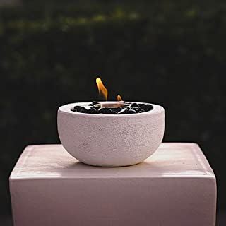 VIVID Heat Modern Table Top Fire Bowl, Fireplace, Round White Firepits Ventless Outdoor Cement Portable Bio Ethanol Fire Pit (Fuel Sold Separately) - (White Bowl)