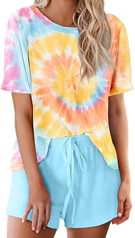 Women's 2 Piece Tie Dye Printed Pajamas Set Casual Plus Size Loungewear Short Sleeve Sweatshirt with Sweatpants