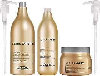 Loreal Serie Expert Lipidium Absolut Repair Shampoo 50.7 Oz & Conditioner 34 Oz & Absolut Repair Instant Resurfacing Masque (New Packaging) 16.9 Oz With Pumps & Beautify Comb