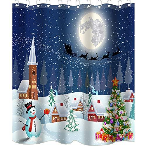 Sunshane 180 x 180 cm Weihnachten Duschvorhang Liner Badezimmer Vorhang Liner Schneemann Bauernhof Stadt im Winter Duschvorhänge mit 12 Haken für Weihnachtsdekorationen