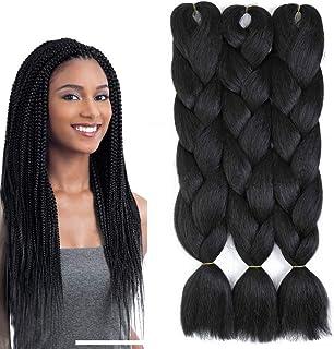 موی بافتنی مشکی 3 بسته Kanekalon مدل بافتنی موی بافتنی برای بافتن جامبو بافندگی مو 24 اینچ (3 بسته ، مشکی)