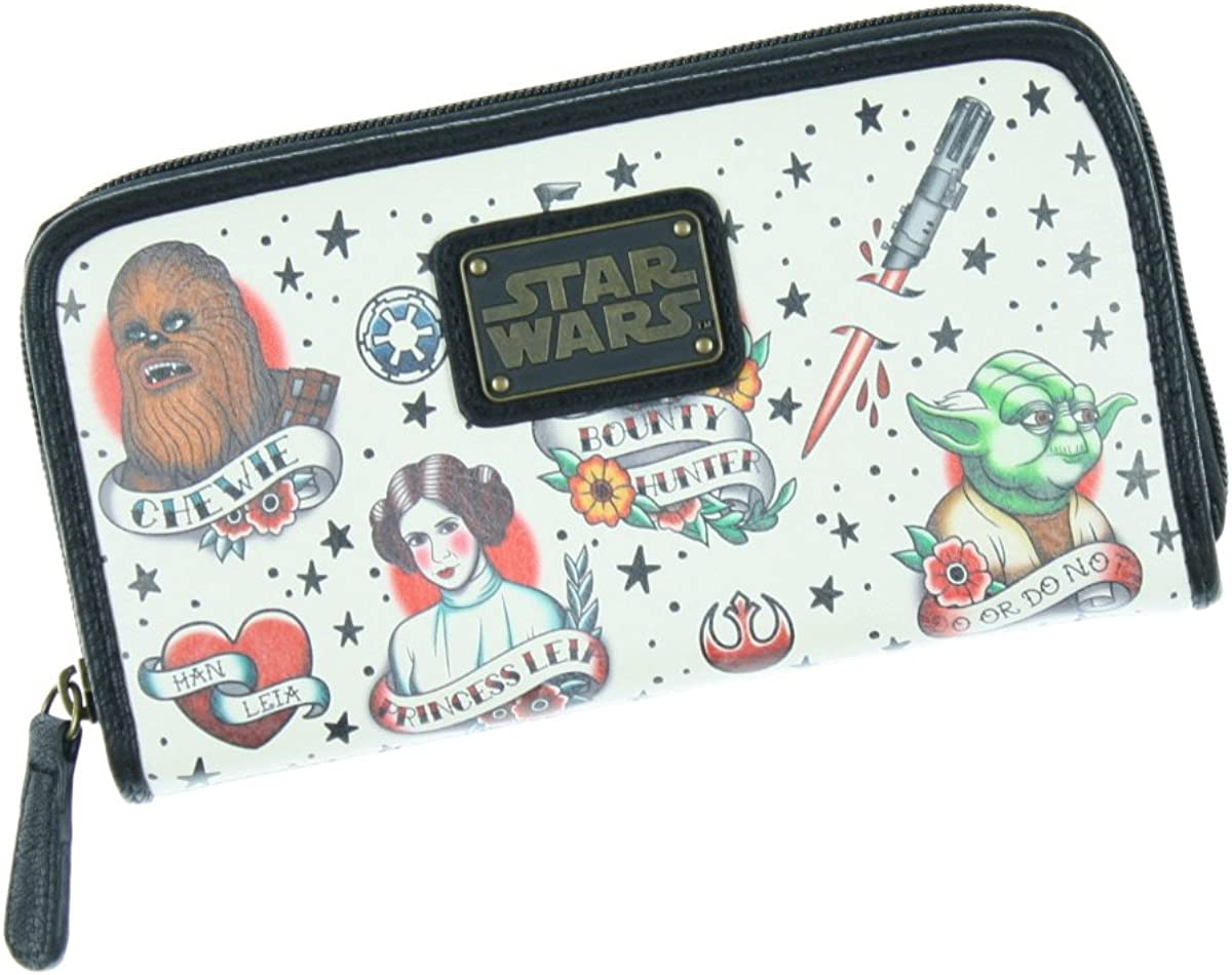 Loungefly Star Wars Tattoo Flash Print Faux Leather Wallet : Clothing, Shoes & Jewelry