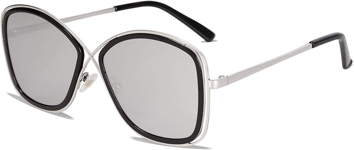 SOJOS Polarized Oversized Womens Sunglasses Metal Frame Mirrored Lens Queen