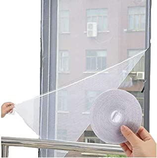 LJHSZ 2pcs DIY Self-Adhesive Window Screen Netting Mesh Curtain, 150X200cm (Approach 59.05x78.74 Inches), with Hook and St...