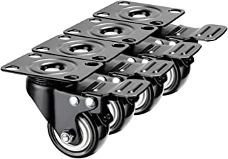 2'' Caster Wheels with Dual Brake,Heavy Duty Caster Set of 4,Polyurethane Wheels Smooth Rolling for Furniture Cart/Table/Cabinet/Shelves(2 Inches,Black,with Brake)