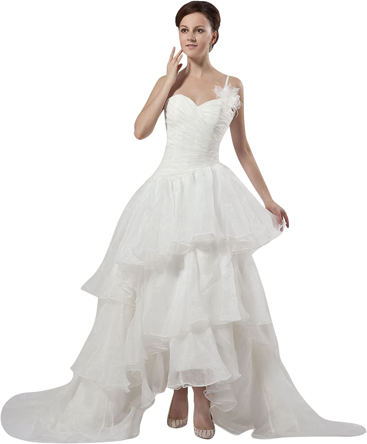 Vampal Ivory One Shoulder Sweetheart Organza Wedding Dress With Flowers