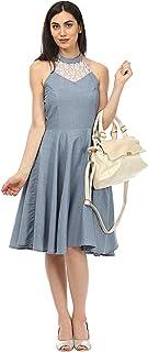 Lady Stark Women's Knee Length Dress (LSDR4597-XL_Blue_X-Large)