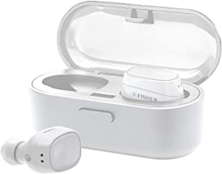 Fisher True Wireless Earbuds and Charging Case, Earphones with Auto Pairing and Built-in Mic (White)