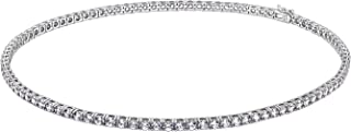 J'ADMIRE 45 carats or 26 carats Swarovski Zirconia Round-Cut Tennis Necklace, Platinum or Yellow Gold Plated Sterling Silver, 17