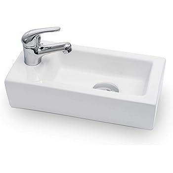 Vilstein Mini Waschbecken Gaste Wc Hange Oder Aufsatzwaschbecken Keramik Klein 36 5cm X 18cm X 9cm Hahnloch Links Amazon De Baumarkt