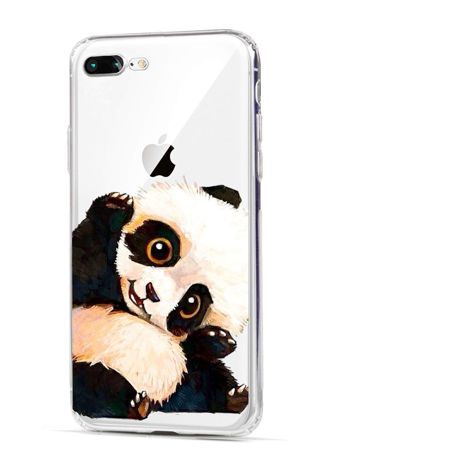 HUIYCUU Phone case Compatible with iPhone 8 Plus for iPhone 7 Plus , Cute Smile Panda Animal Soft Cover Funny Pattern Clear Novelty Bumper Back Case ...