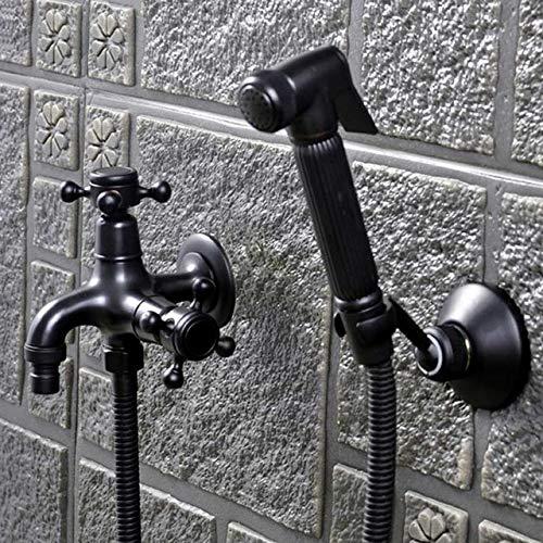 Bidetkranen Muur Zwart Koud Messing Water Toilet Hoekklep Handheld Hygiënische Douchekop Wassen Auto Huisdier Sproeier Airbrush Kranen, bidet kraan set 4