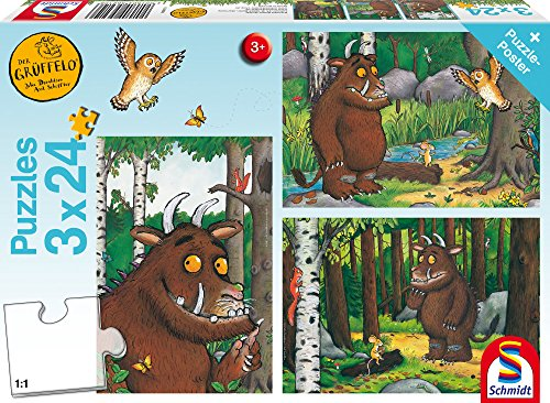 Schmidt spel puzzel 56210 The Gruffalo Mijn vriend van de Grüffelo, 3 x 24 delen kinderpuzzel, kleurrijk, 3 x 24 delen