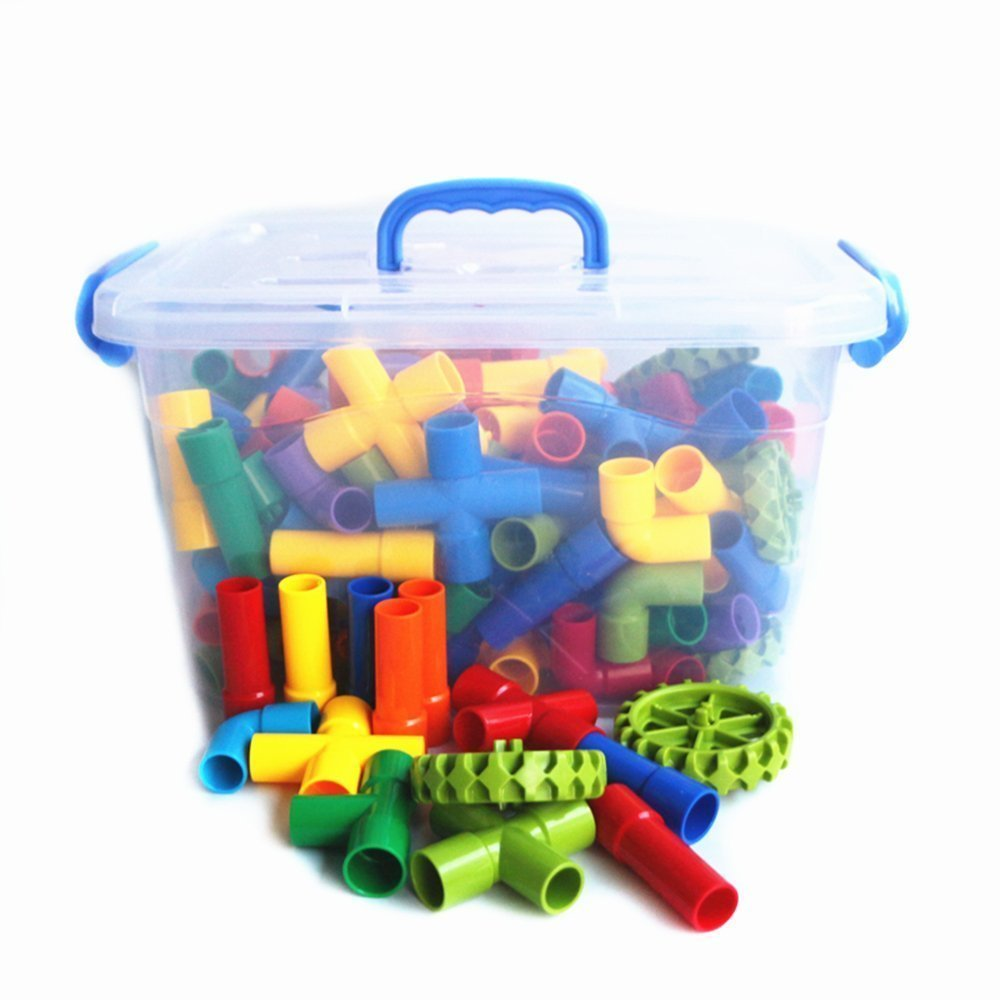 BAODLONパイプビルディングブロックプラスチックブロッキングブロック収納ボックスブロック啓発パズル子供のおもちゃ誕生日プレゼント(1.1kg約142パイプブロック)