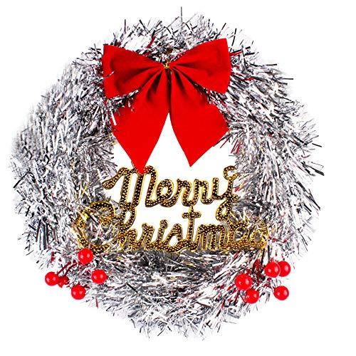 Alikey Slinger met bloemenpatroon, 30 cm lang, luxe merry-kerstversiering, party, grote Holly Xmas slinger, deur wandslinger