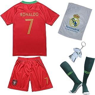 Portugal Ronaldo Trikot Set #7 Heim 2018/19 Kinder Fussball Trikot Mit Shorts und Socken Kinder