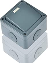 Nineleaf 1 Pack Waterproof 1 Gang Socket IP66 Rated Weatherproof 10A 2 Way Single Switch for Outdoor Use