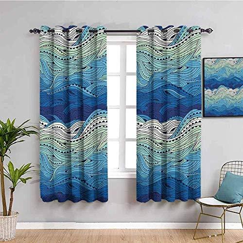 Nileco Cortinas Opacas Termicas - Azul dibujos animados mar olas - 264x210 cm - Cortinas del Dormitorio de la Habitación de los Niños - 3D Impresión Digital con Ojales Aislamiento Térmico