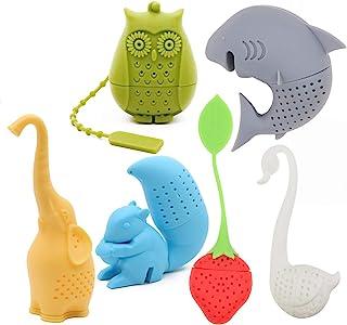 Creative cute Animal respetuoso con el medio ambiente de silicona té infusor colador Set de 6 pcs elefante tiburón cisne ardilla búho de fresa té más amante del té de regalo