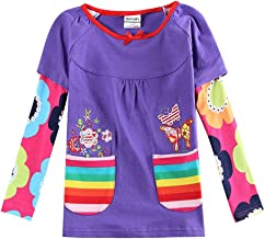 JUXINSU Cotton Toddler Girls Long Sleeve Pink t-Shirt Flower for Baby Girl Kids Autumn Clothes 1-6 Years L339