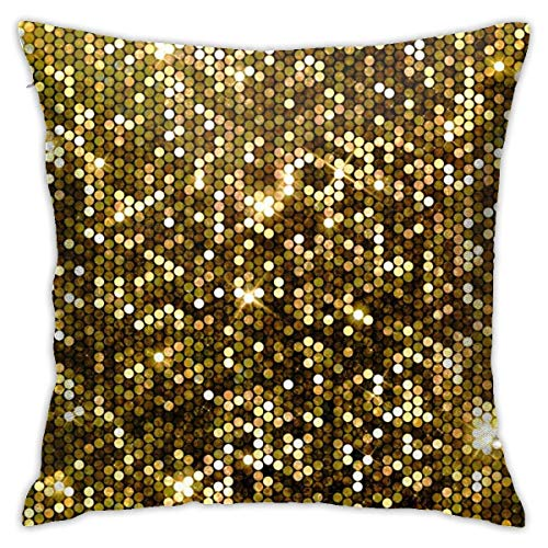 EU Gold Sparkle Glitter Decorative Throw Pillow Cover Zippered Cushion Case Bedroom Car Chair House Party Indoor 18 X 18 Inch