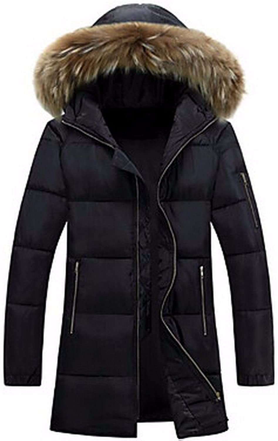 ZHUDJ Men's Long Padded Coat,Simple Casual Daily Solid-Polyester Cotton Long Sleeve Hooded Black