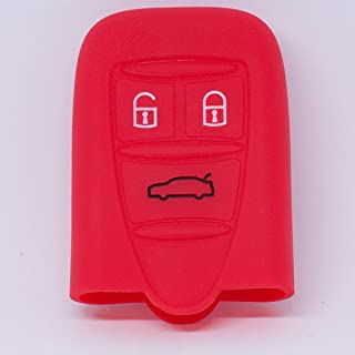 Negro Happyit Silicona Llave Inteligente del Coche Caso de la Cubierta para Alfa Myth 159 GTO Myth Giulietta Romeo 4C GTA-m38 3 Botones Mando a Distancia