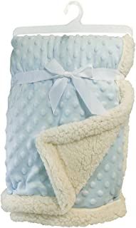 Stephan Baby Snuggle Fleece Crib Blanket, Reversible Plush and Sherpa, Blue
